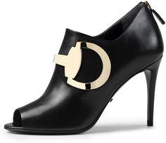 Gucci Leather Horsebit Peep-Toe Bootie, Black (Nero)