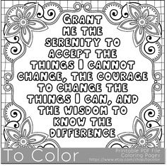 Printable Serenity Coloring Page For Adults PDF JPG Instant Download Sentiment