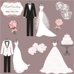 3 Luxury Wedding Dress & 2 Tuxedos - Personal Or Small Commercial Use Cricut Wedding, Wedding Art, Luxury Wedding Dress, Wedding Dresses, Paper Clip Art, Cardboard Box Crafts, Wedding Dress Silhouette, Silhouette Clip Art, Dress Card