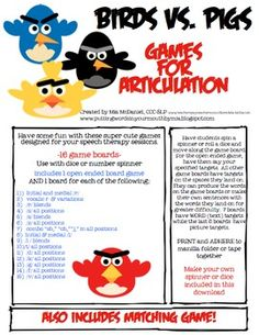 36 pages of Birds vs. Pigs Articulation Games for your speech sessions! for all your angry bird obsessed little ones!
