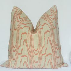 Kelly Wearstler Pillow Cover, Groundworks Agate, Salmon Linen, Decorative Pillow, Throw Pillow, Designer Pillow, Made in USA,Handmade Pillow