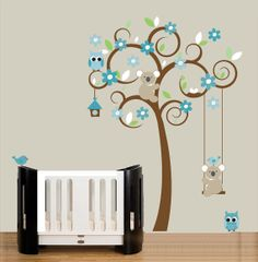 Childrens wall decal swirl tree wall stickers by couturedecals, $109.00
