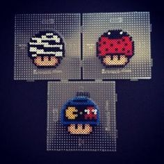 Nintendo mushrooms (zebra, ladybug and Pacman) perler beads by sajagee by arlene