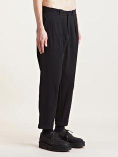 Yohji Yamamoto Men's Pleated Cotton Chino Pants