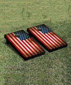 Loving this American Flag Cornhole Bag Toss Game on #zulily! #zulilyfinds
