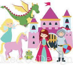 Fairy tale Clipart, Fun Cute Clipart, knight and Princess, Castel Instant Download, Personal and Commercial Use Clipart, Digital Clip Art