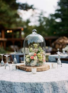tree truck + cloche centerpiece | Melissa Schollaert #wedding