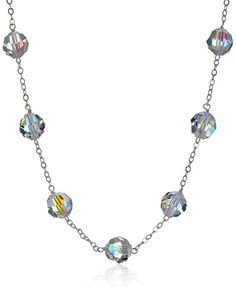 """Sterling Silver Crystal Aurora Borealis Swarovski Element Beads Tin Cup Chain Necklace, 18"""" -- Find out more about the great product at the affiliate link Amazon.com on image."""