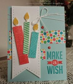 Birthday Candles Diy Stampin Up Ideas Bday Cards, Kids Birthday Cards, Handmade Birthday Cards, Greeting Cards Handmade, Diy Birthday, Card Birthday, Birthday Quotes, Birthday Wishes, Birthday Images