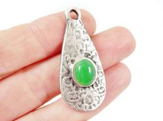 Textured Teardrop Pendant with Green Oval Glass by LylaSupplies, $3.30