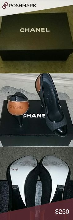 Chanel pumps Black patent leather and grey shoe with brown chanel on the back of the shoe. Size 38 but fits like a 37. CHANEL Shoes Heels