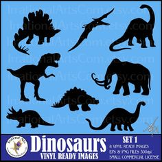 INSTANT DOWNLOAD Dinosaur silhouettes 8 Vinyl by IrrationalArts, $25.00