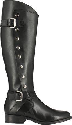 Boots fille style rock avec brides métalliques