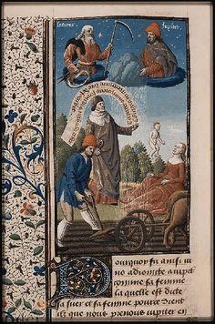The Hague, MMW, 10 A 11 fol. 192v Book 4, 10 Saturn, Jupiter and Juno make the earth fertile