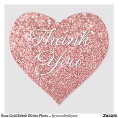 Rose Gold Bokeh Glitter Photo Thank You Heart Sticker