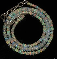 """34 Ctw 1Necklace 3to6mm 16"""" Beads Natural Genuine Ethiopian Welo Fire Opal 95220"""