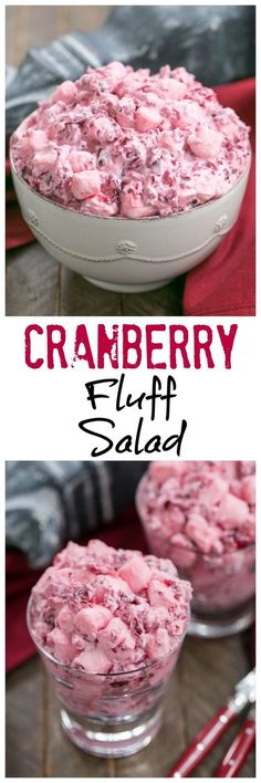 Cranberry Fluff Salad | A simple version of this Thanksgiving classic! #cranberries #thanksgivingrecipes