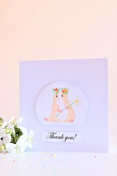 Guinea pig thank you card, guinea pig, guinea pigs, guinea pig card Pig Drawing, Guinea Pigs, Homemade Cards, Thank You Cards, Card Stock, Envelope, Baking Business, Greeting Cards, Wall Papers