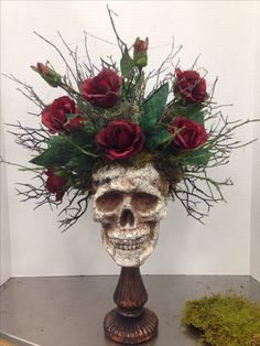 Halloween skull floral arrangement by Kim T