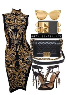 """""""Untitled #1784"""" by stylebyteajaye ❤ liked on Polyvore featuring Emilio Pucci, Dsquared2, Chanel and Linda Farrow"""