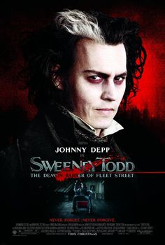 Directed by Tim Burton.  With Johnny Depp, Helena Bonham Carter, Alan Rickman, Timothy Spall. The infamous story of Benjamin Barker, AKA Sweeney Todd, who sets up a barber shop down in London which is the basis for a sinister partnership with his fellow tenant, Mrs. Lovett. Based on the hit Broadway musical.