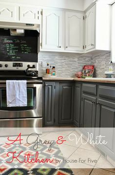 Grey and white kitchen reveal. Could work for the color on our cabinets.
