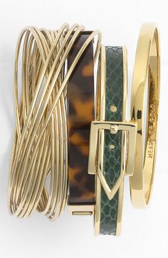 Express yourself by stacking bangles. Nordstrom, Michael Kors & kate spade new york bangles Girls Accessories, Jewelry Accessories, Fashion Accessories, Bling Bling, Bracelets, Bangles, Bijou Box, Fashion Shoes, Fashion Jewelry