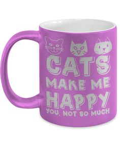 Cats Make Me Happy Metallic Mug #prints #prntable #painting #canvas #empireprints #teepeat