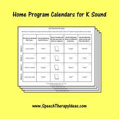 Home Program Calendars for K Sound