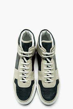COMMON PROJECTS SSENSE EXCLUSIVE Grey & Navy leather BAsketball Sneakers