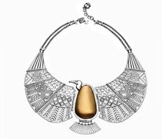 My favorite piece in the entire collection! Gold and Silver Nekhbet Vulture Necklace, inspired by Queen Ahhotep's armlet. Isn't it beautiful?