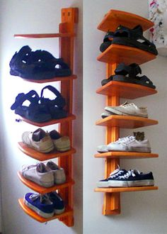 Shoe rack plans, Free woodworking plans for building a shoe rack that gives you two layers of shoes, therefore doubling closet floor space.