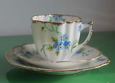 Melba English Bone China Blue & White Floral Tea Trio Set c.1940