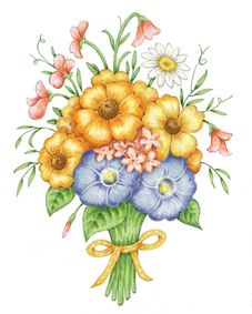 Floral bouquet artwork - for a cross stitch design featured in my 'Floral Elegance' book.