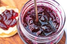This Cherry Jam is so quick and simple to make with just 3 ingredients. With a soft set and bursting with chunks of cherry this jam is off the scale good! Cherry Recipes, Jam Recipes, Cooking Recipes, Fruit Jam, New Fruit, Sour Cherry Jam, Compote Recipe, Cherry Candy, Cinnamon Chips