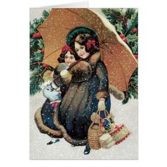 Christmas Card - Adorable Mother Daughter Card