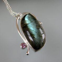 Blue Green Labradorite, Pink Tourmaline Sterling Silver Pendant Necklace, by TK Metal Arts