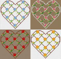 flowers pattern in cross stitch 123 Cross Stitch, Cross Stitch Boards, Cross Stitch Heart, Cross Stitch Designs, Cross Stitch Patterns, Perler Beads, Fuse Beads, Beaded Bracelet Patterns, Beading Patterns