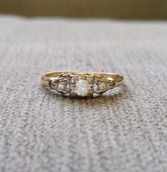 Antique Two Toned Gold Diamond engagement Ring by PenelliBelle