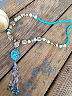 Long Handmade Boho Bohemian Statement Necklace by JupiterOak