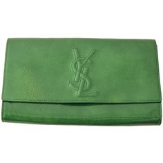Pre-owned YSL Belle De Jour Green Patent Leather Clutch (1,005 CAD) ❤ liked on Polyvore featuring bags, handbags, clutches, handbags and purses, formal purse, accessories handbags, special occasion handbags and cocktail purse