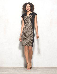 Scuba Geometric Panel Dress