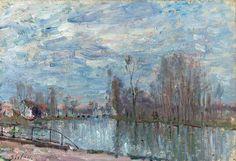Le Loing et Le Pont de Moret de l'artiste Alfred Sisley