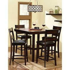 This Pendleton Gathering Table And Stools Set Is Made Of Quality Veneers Over Wood Products Select Solids The Four Are Upholstered In Black Faux