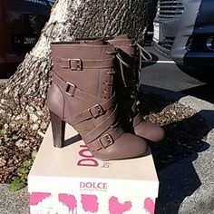 Women's boots. Women's mid calf Brown boots. Boots zip on side, straps on the other side and laces in front. Mojo Moxy Shoes Ankle Boots & Booties
