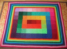 Color spectrum granny squares crochet blanket