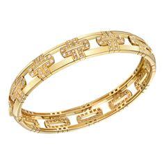 Bulgari Parentesi 18k Gold Bangle with Diamond