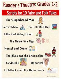 10 reader's theatre scripts for common fairy and folk tales with parts for emergent to fluent readers.  Also includes reader response worksheets and organizers for students to write their own fractured fairy tale and/or script.