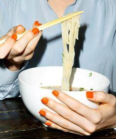 orange nails and ramen Ramen Recipes, Recipies, Ramen Photography, Vsco Photography, Neon Nail Polish, People Eating, Orange Nails, Foods To Avoid, Fotografia