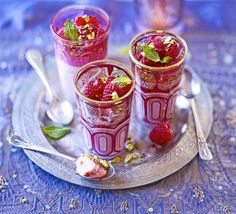 Rose Cream and Raspberry Jellies - With all the flavours of Turkish delight, these fragrant Middle Eastern-style puddings make a light finish to an entertaining menu Jelly Recipes, Dessert Recipes, Desserts, Dessert Ideas, Cookie Recipes, Raspberry Jelly Recipe, Meringue Pie, Fodmap Recipes, Bbc Good Food Recipes